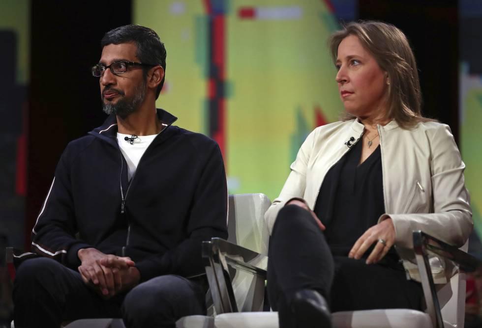 Sundar Pichai y Susan Wojcicki, CEOs de Google y YouTube respectivamente, durante el encuentro en San Francisco.