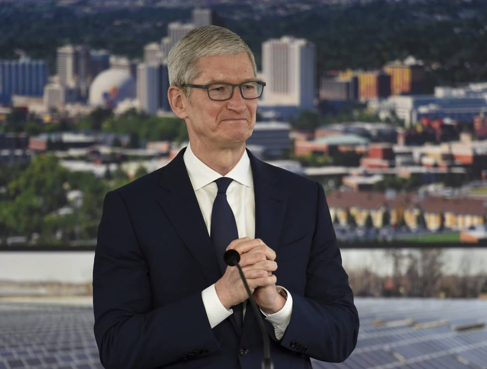 Tim Cook, CEO de Apple, durante una reciente visita a Reno (Nevada).
