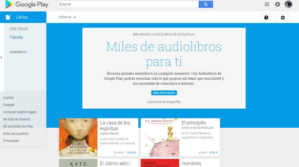 Nueva sección de audiolibros de Google.