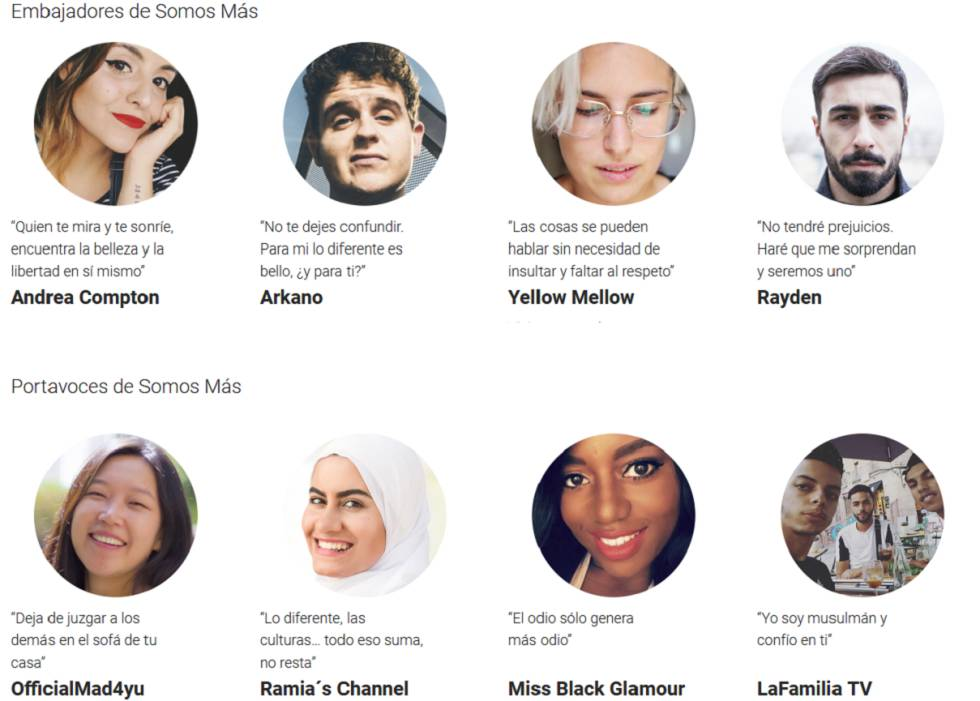 Los 'youtubers' participantes en Somos más.