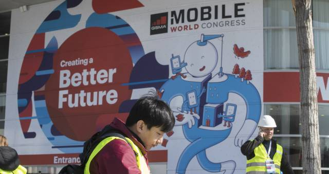 Preparativos para la apertura del Mobile World Congress 2018 en Barcelona