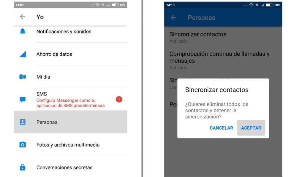 Configuración para borrar el historial de mensajes y llamadas de Facebook.