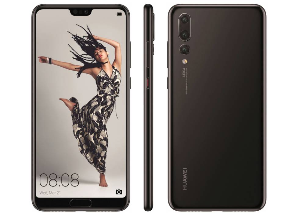 Vista frontal, lateral y trasera del Huawei P20 Pro.