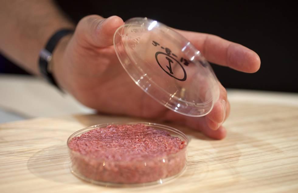Esta carne se cultiva en un laboratorio a partir de células madre de vaca.