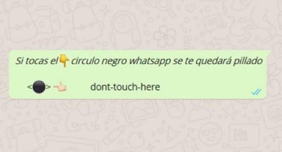 El círculo negro de Whatsapp bloquea la \'app\' pero no es un virus ...