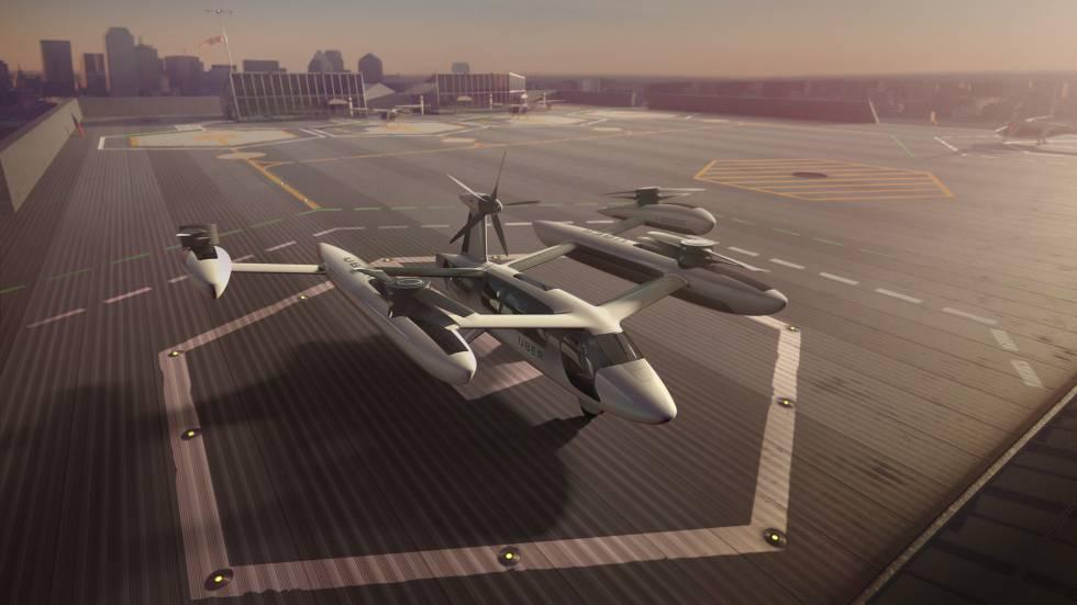 El eCRM003, concepto de taxi volador de Uber presentado esta semana.