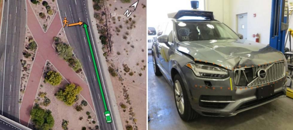A la izquierda, localización del accidente. A la derecha, estado del vehículo de Uber tras la colisión.