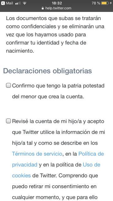 Autorización de los padres requerida por Twitter para los menores de 13 años.