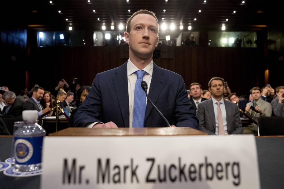 Mark Zuckerberg, el pasado abril, cuando testificó en el Congreso de EE UU por el caso de Cambridge Analytica.