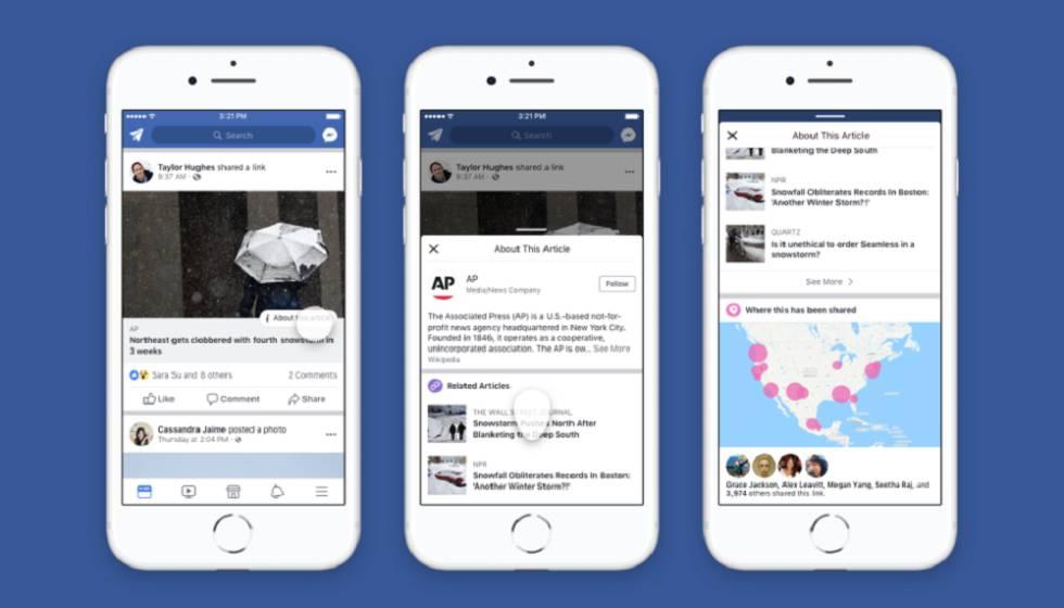 Pantallas con la localización y despliegue del botón Contexto de Facebook.
