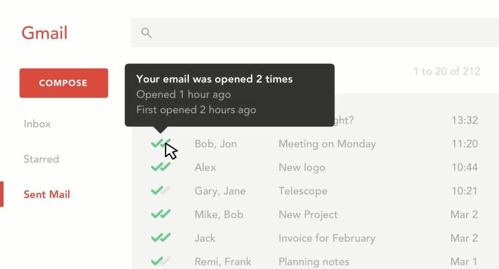 Imagen del servicio de Mailtrack en su página web.