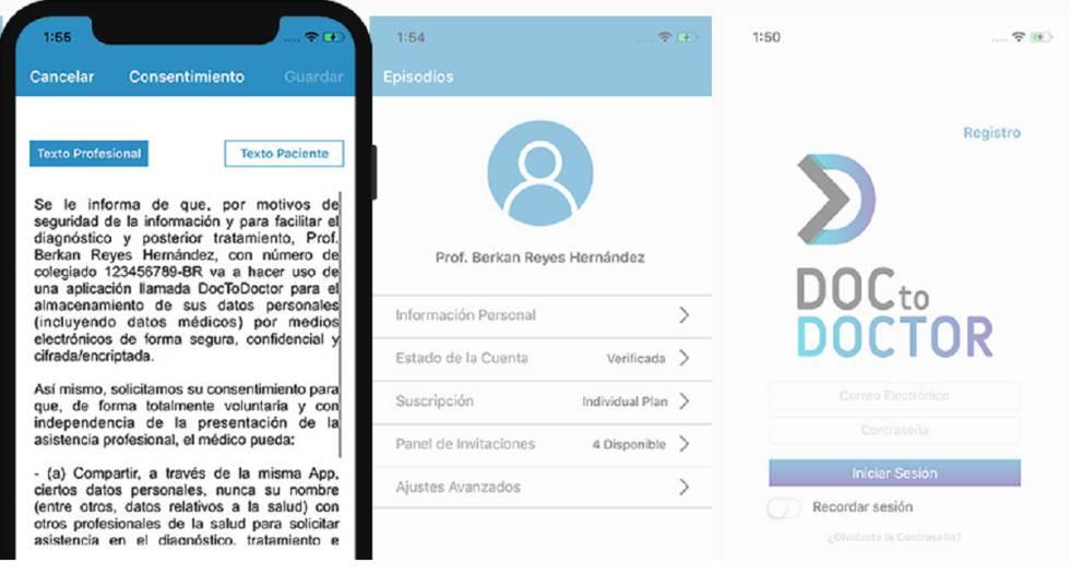Pantallas de la aplicación DocToDoctor.