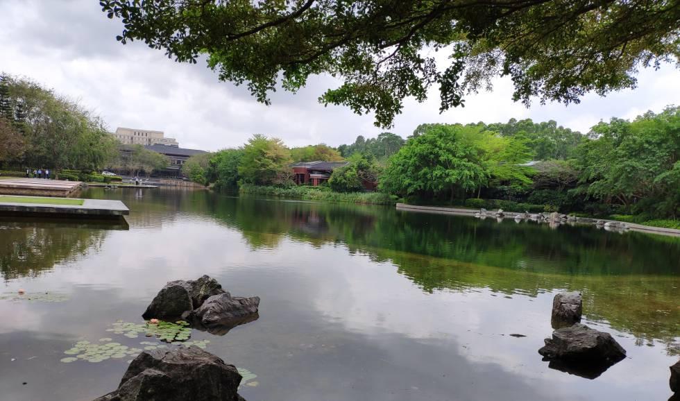 Lago artificial dentro del campus de Huawei en Shenzhen.