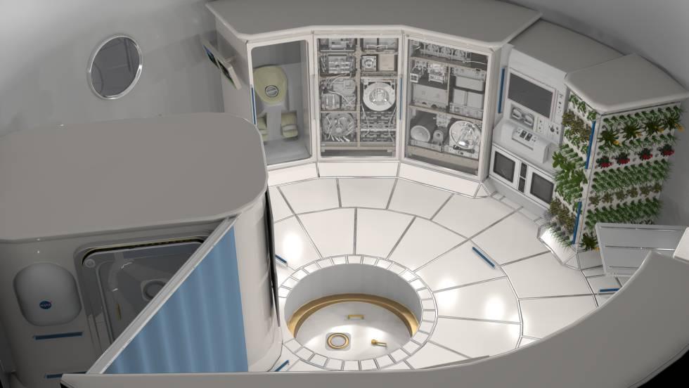 Ilustración del interior de un hábitat en el espacio.