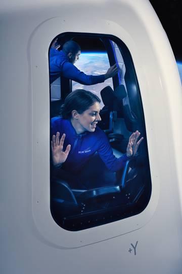 Ilustración de una pareja en el espacio difundida por la empresa aeroespacila creada por Jeff Bezos, fundador de Amazon.