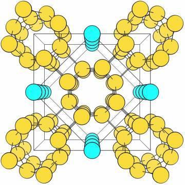 Esquema de la estructura atómica del potasio en el nuevo estado descrito. Las hileras de átomos en cian son líquidas.