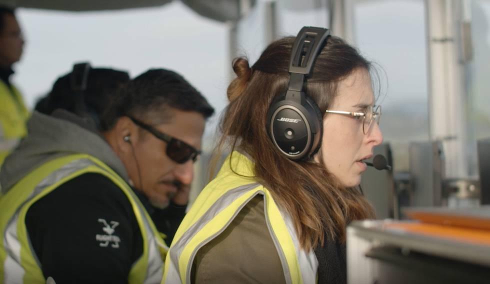 Irene Rubio, durante la prueba de despegue.