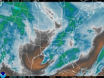 Mapa do vapor de água detectado pelo satélite GOES.