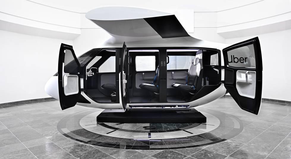 Uber ha diseñado con Safran Cabin, por primera vez, una cabina específica para taxis compartidos de Uber Air.