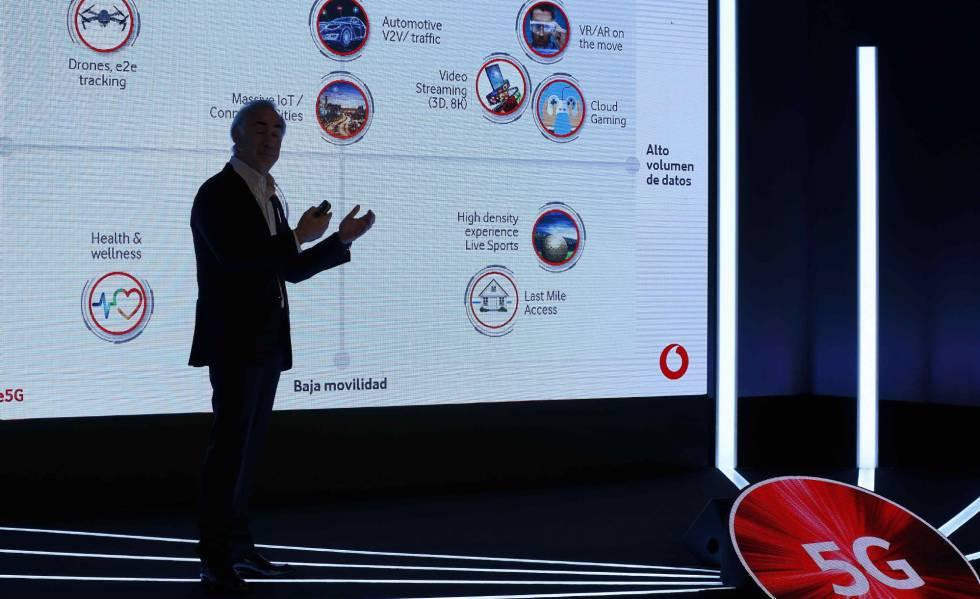 El presidente de Vodafone España, Antonio Coimbra, durante la presentación, el lunes, de los servicios 5G de la compañía en España.