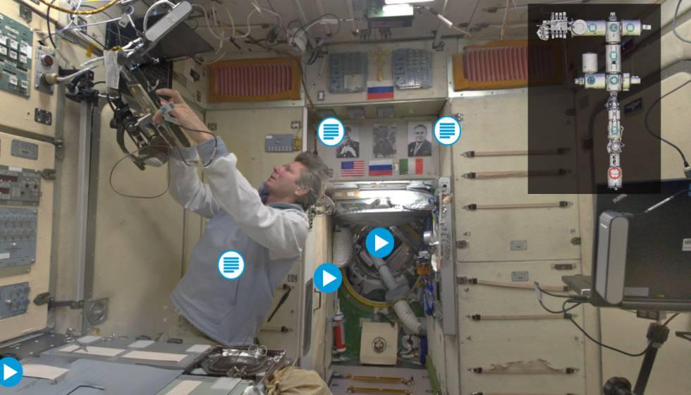 El cosmonauta Gennady Padalka, en el interior de la Estación Espacial Internacional, que puede recorrerse virtualmente con un programa multimedia de la ESA.