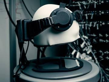 Prototipo del dispositivo lector de ondas cerebrales de Facebook.