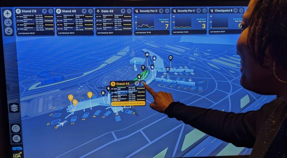 Monitorización de un aeropuerto con información en tiempo real sobre vuelos, pasajeros o tiempos de espera.