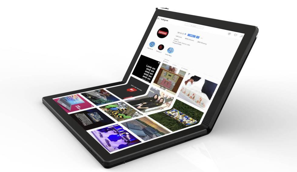 Imagen de Lenovo de su primer portátil con pantalla plegable.