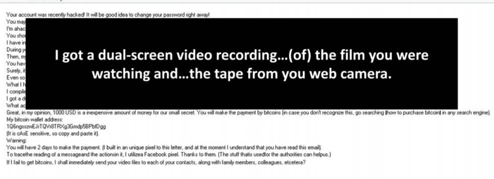 Imagen facilitada por ESET de un email de una campaña de sextorsión.