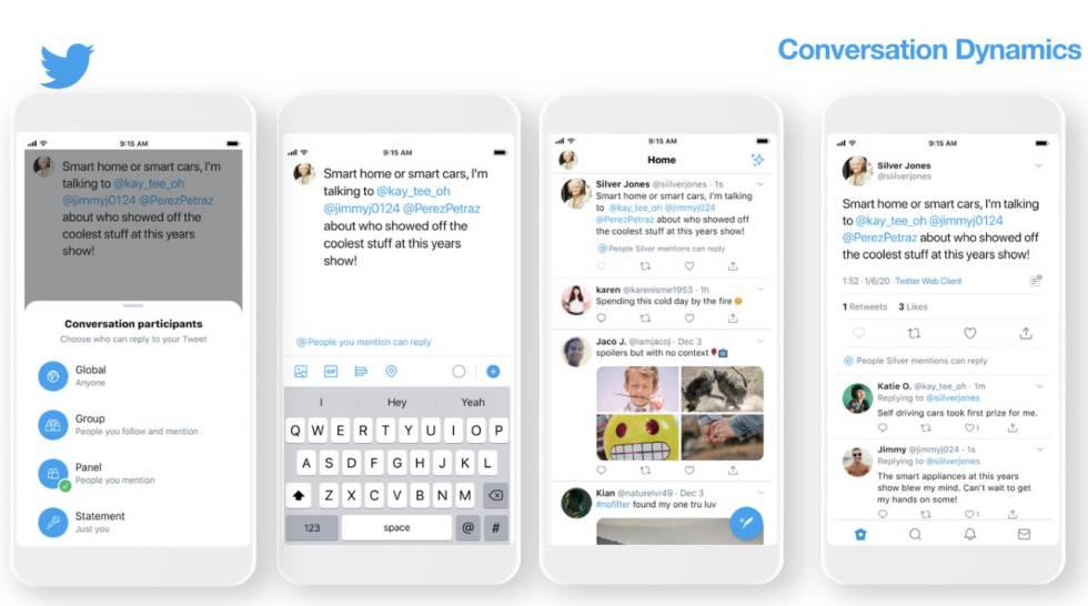 Funciones que permiten al usuario elegir quién puede contestar a sus tuits, tal y como las presentó este miercoles Twitter en Las Vegas.