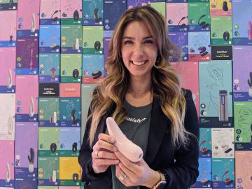 Vanessa Palestino, Satisfyer employee, with a clitoral sucker.