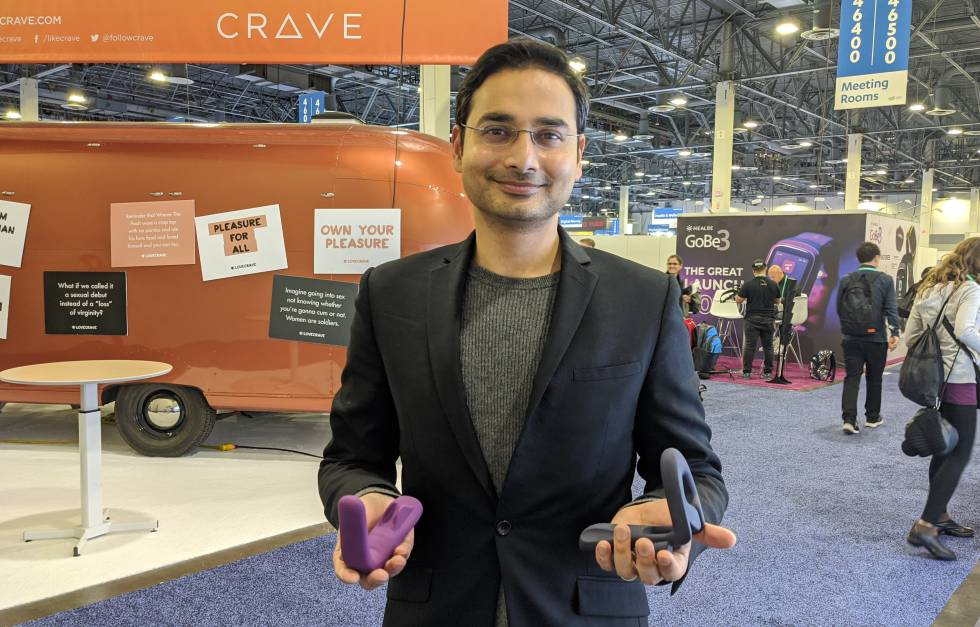 The founder of MysterVibe, Soumyadip Rakshit, with some sex toys.
