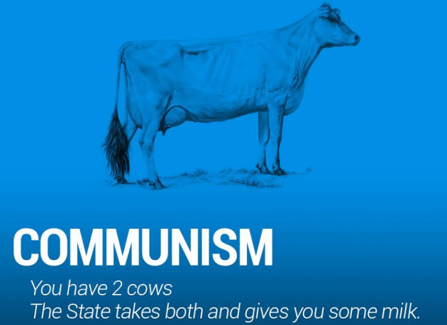 Comunismo: tienes dos vacas. El estado se lleva a las dos y te da algo de leche