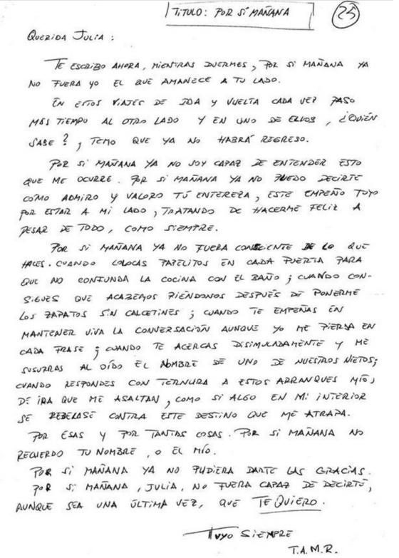 Por Si Manana La Emocionante Carta De Un Enfermo De Alzheimer A Su