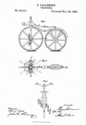 Patente da bicicleta com pedais de Pierre Lallement
