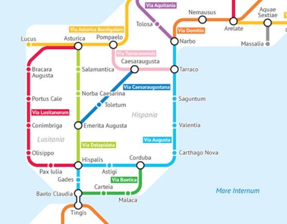 La red de antiguas calzadas romanas, unidas en un plano de metro