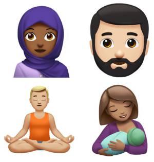 Alguns dos novos emojis da Apple. Acima à esquerda, a mulher com véu. Os emojis poderão ser utilizados com vários tons de pele.