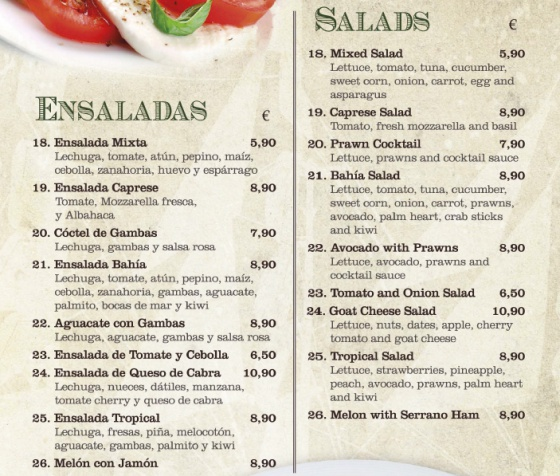 The salad menu at the Bahía restaurant.