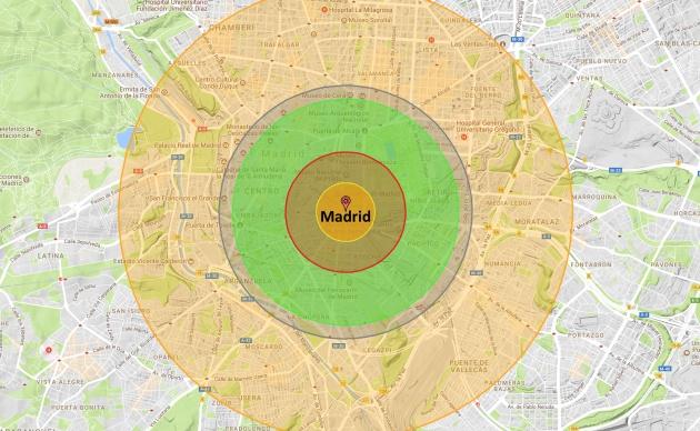 Simulación de los efectos de una bomba nuclear de 80 kilotones, como la que afirma haber probado Corea del Norte, en Madrid