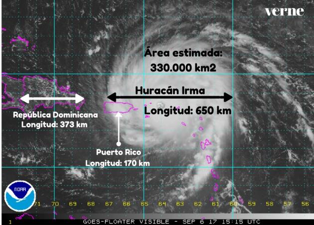 huracán irma tamaño