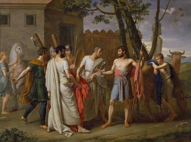 Cincinato abandona el arado para dictar leyes a Roma, de Juan Antonio Ribera (1806)
