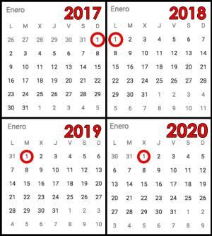 Si guardas un calendario de 1990 puedes reutilizarlo este 2018 el 2017 empez en domingo el 2018 en lunes el peor ao nuevo el 2019 lo har en martes el 2020 en mircoles y el 2021 thecheapjerseys Image collections