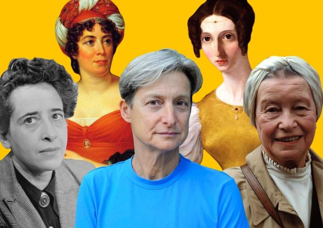 Arriba, de izquierda a derecha: Madame de Staël y Harriet Taylor Mill. Abajo: Hannah Arend, Judith Butler y Simone de Beauvoir