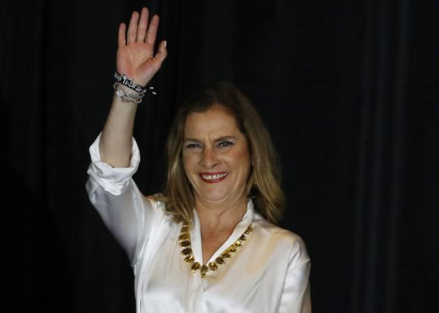 Beatriz Gutiérrez Müller celebra el triunfo de López Obrador el 1 de julio