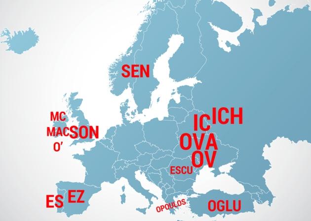 Este mapa es orientativo. Los distintos prefijos y sufijos se extienden por varios países diferentes