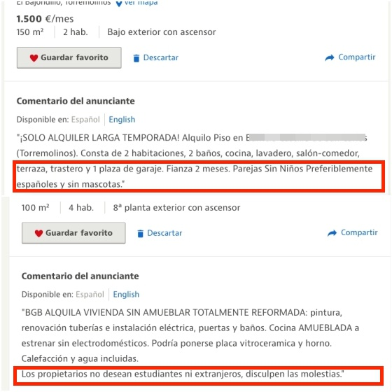 racism in spain racism in spains rental market they asked me  the first comment circled in red reads preferably spanish
