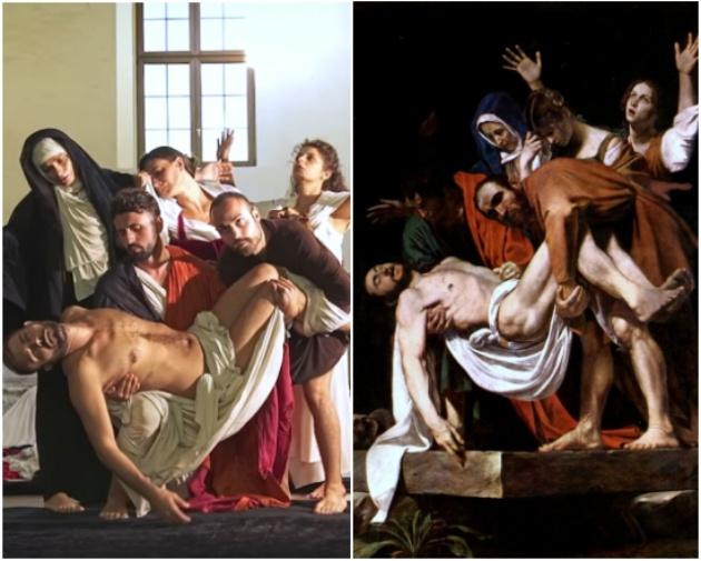 Recreación de 'Santo entierro', de Caravaggio (1602-1604).