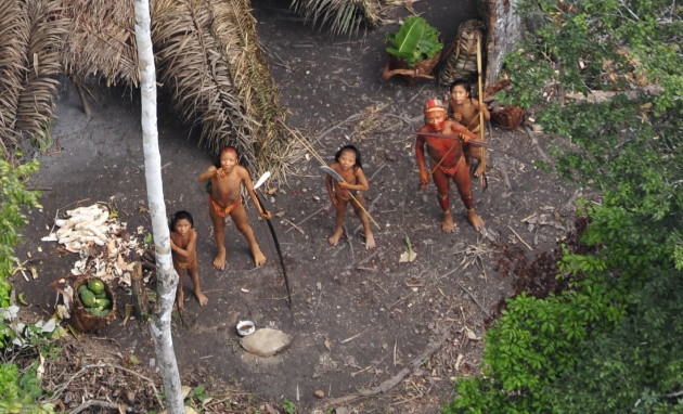 Una de las tribus aisladas del Amazonas, en una vista aérea.