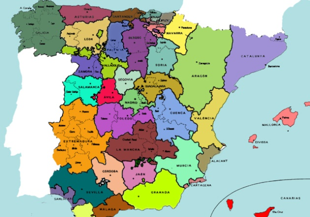 Mapa Provincial De España.Cartagena Chinchilla Xativa Asi Han Cambiado Las