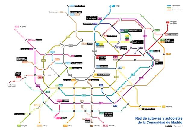 Mapa Metro De Madrid.Las Carreteras De Madrid Vistas Como Un Plano De Metro
